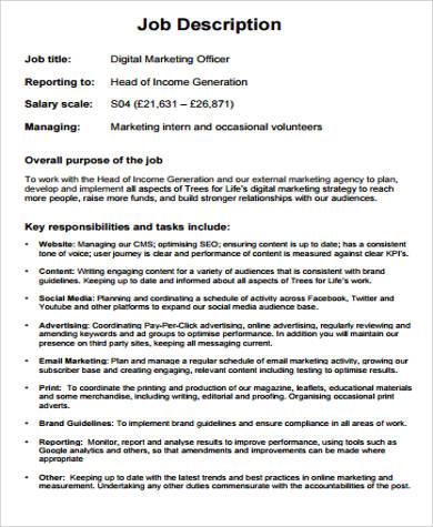 9 marketing officer job description samples sample templates - Recruitment officer duties ...