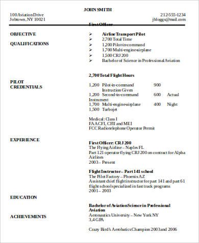 sample airline pilot resume - Airline Pilot Resume