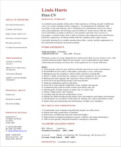 Sample Pilot Resume   Examples In Word Pdf