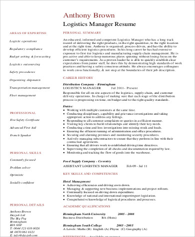 logistics manager resume format