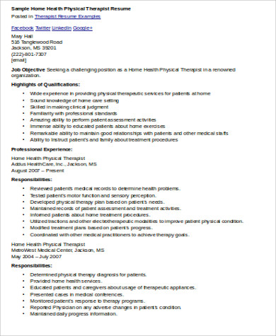 home health physical therapist resume