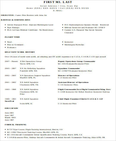 Sample Pilot Resume - 6+ Examples In Word, Pdf