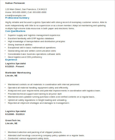 Logistics Specialist Resume  Logistics Management Specialist Resume