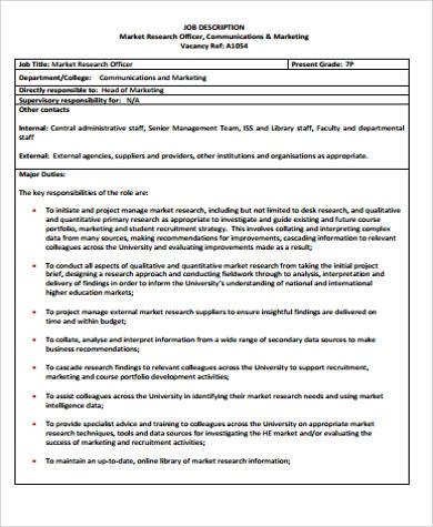 marketing research officer job description pdf
