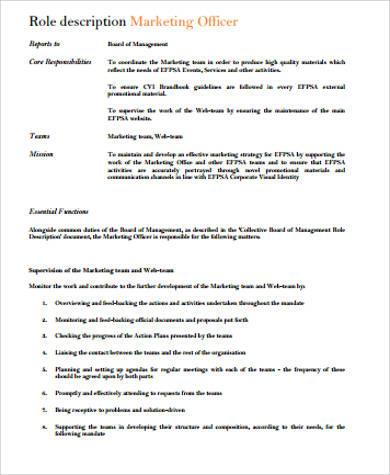 example of marketing officer job description
