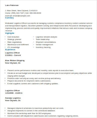 professional free sample resume for logistics resume