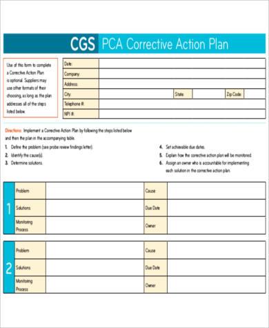 pca corrective action plan