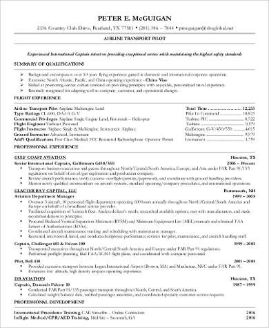 Transport Pilot Resume Format
