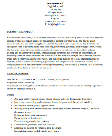physical therapy resume examples templates - Physical Therapist Assistant Resume