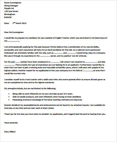 application letter for teacher job pdf