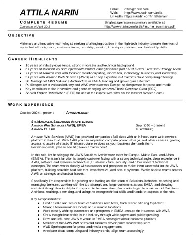 experienced architect resume