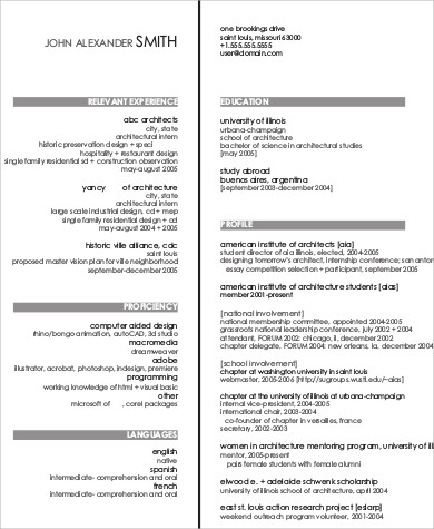 architect job resume