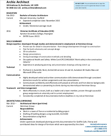 sample architect resume 8 examples in word pdf - Sample Architect Resume