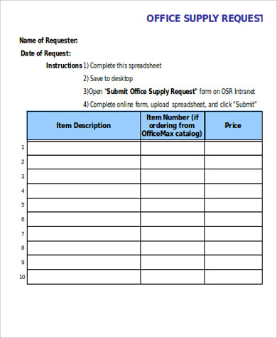 office material request spreadsheet form - Supply Request Form