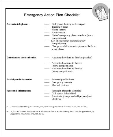 emergency action plan sample plan emergency action plan template