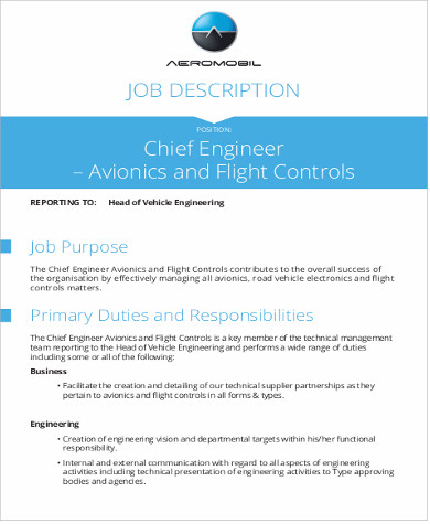 Chief Engineer Job Description Sample   Examples In Word Pdf