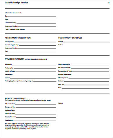 blank graphic design invoice sample