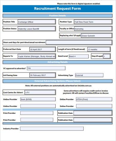 general recruitment request form