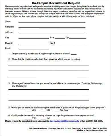 on campus recruitment request form