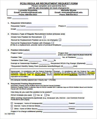 regular recruitment request form
