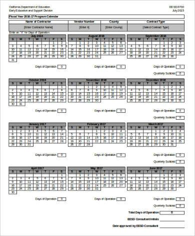 daily printable program calendar