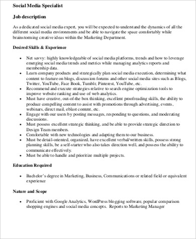 Social Media Marketing Job Description Sample   Examples In