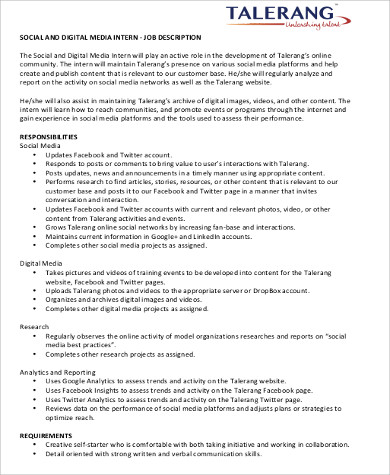 social media marketing intern job description