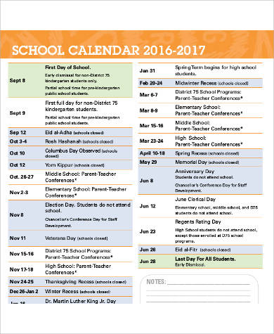 daily school calendar printable pdf