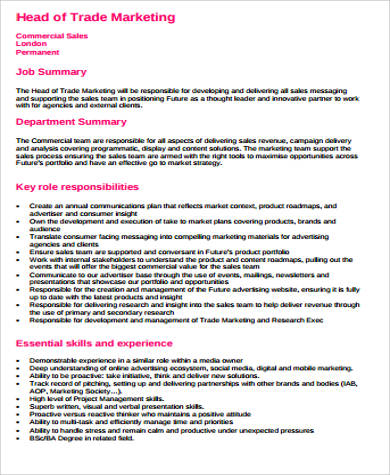 head of trade marketing job description