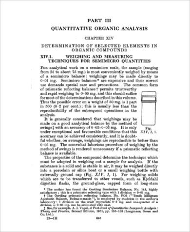 quantitative organic chemical analysis