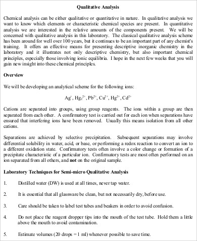 quantitative and qualitative chemical analysis