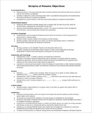 8+ Sample Resume Career Objectives | Sample Templates