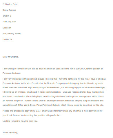 example of a personal assistant cover letter