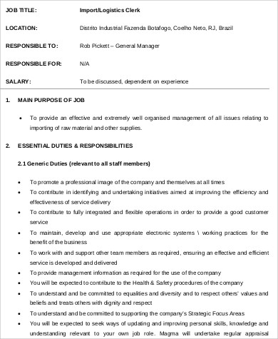 Logistics Office Clerk Job Description Format