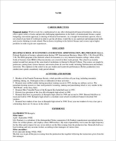 resume finance career objective