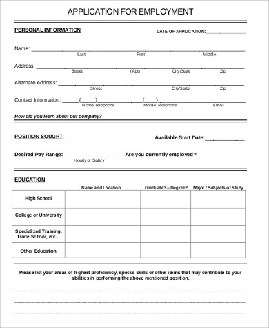 Sample Printable Job Application  Free Sample Example Format