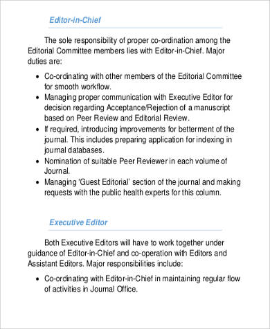 Executive Editor Job Description Sample   Examples In Word Pdf
