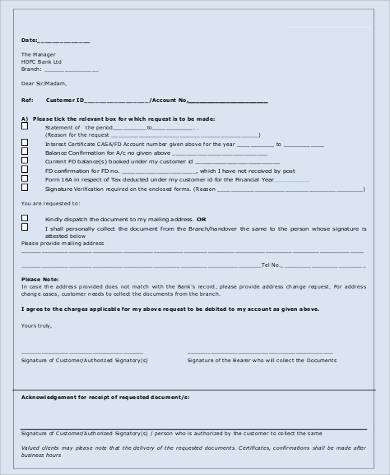 bank statement application sample
