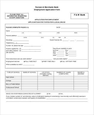 High Quality Sample Bank Job Application Form Idea
