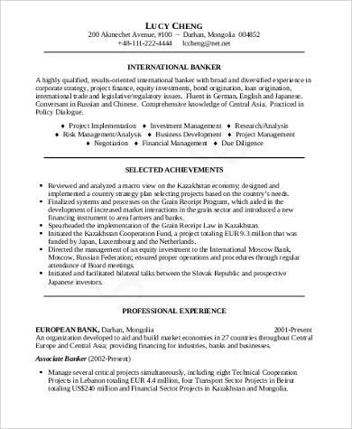 sample resume for bank application pdf