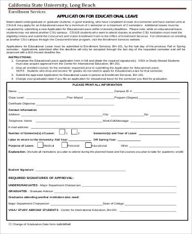 education leave application sample