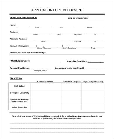 7+ Sample Employment Application - Free Sample, Example, Format