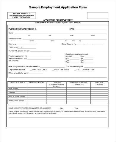 Sample Employment Application  Free Sample Example Format
