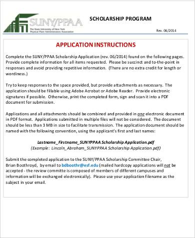 scholarship application instructions