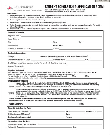 7+ Sample Scholarship Application - Free Sample, Example, Format