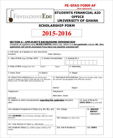 financial scholarship application form