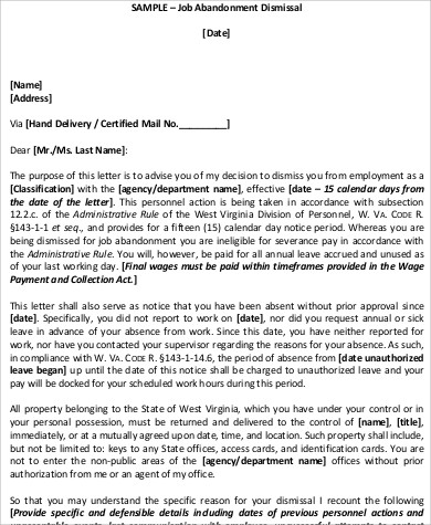 8+ Sample Job Abandonment Letter - Examples in Word, PDF