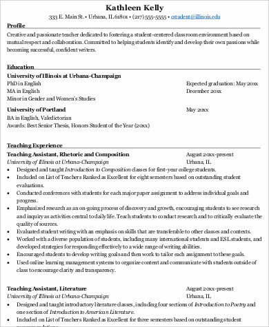 resume for teacher job application sample