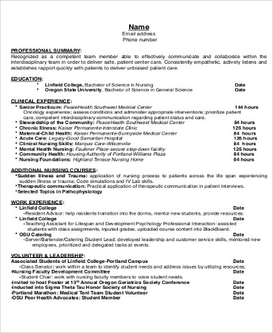 resume for nursing job application example