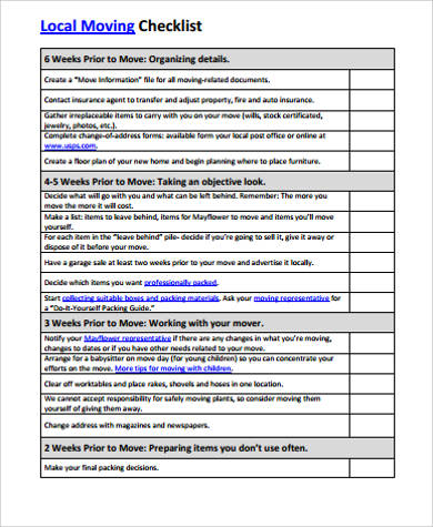 Printable Moving Checklist Sample   Examples In Word Pdf